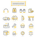 Thin line icons set. Construction
