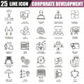 Thin line icons set of corporate development, business leadership training and corporate career