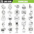 Thin line icons set of distance school education training