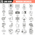 Thin line icons set of doing business using marketing technology ideas