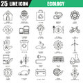 Thin line icons set of ecological energy source, environmental safety