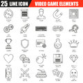 Thin line icons set of game objects, mobile gaming elements