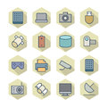 Thin line icons for technology vector eps Stock Photography