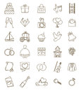 Thin line icons wedding set. Outline with adjustable stroke