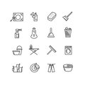 Thin line style cleaning vector icons