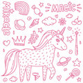Thin line vector illustration with cute handdrawn unicorn and magic stuff. Miracle and magic creature.