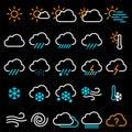 Thin line weather icon set. Royalty Free Stock Photo