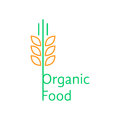 Thin line wheat ears like organic food logo