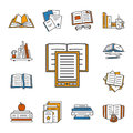 Thin lined book icons set.