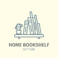 Thin lined book shelf icon.