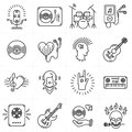 Thin lines music icons set. Punk rock band, guitar, dj Royalty Free Stock Photo