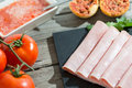 Thin slices of ham Stock Photography