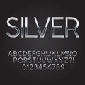 Thin sliver steel font and numbers eps vector Stock Image