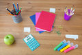 Things for study well organized on wooden desk Royalty Free Stock Images