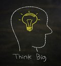 Think big concept drawn with chalk on blackboard Royalty Free Stock Photo