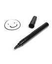 Think black pen hand drawn smiling face isolated white background Royalty Free Stock Photo