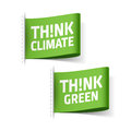 Think climate and think green labels illustration Royalty Free Stock Images
