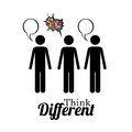 Think different diferent over white background vector illustration Stock Images