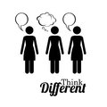 Think different diferent over white background vector illustration Stock Photos