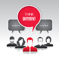 Think different group of people and a leader with speech bubbles Stock Images