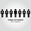 Think different people wearing the same clothing and one wearing clothing Royalty Free Stock Image
