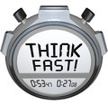 Think fast timer stopwatch quiz answer contest a or tells you to to choose or decide an before the end of the test or challenge Royalty Free Stock Images