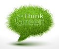 Think green concept on grass a bubble isolated vector illustration Stock Photos