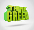 Think green d render text on isolated background Stock Photos