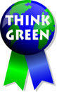 Think Green Earth Button/eps Royalty Free Stock Photo