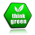 Think green with leaf sign in green button Royalty Free Stock Photo