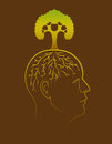 Think green man concept conceptual illustration of a mans profile with a tree growing out of his head Stock Photos