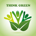 Think green over background illustration Royalty Free Stock Photos