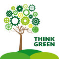 Think green over gray background illustration Royalty Free Stock Image