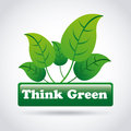 Think green over gray background illustration Stock Images