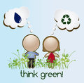 Think green over sky background vector illustration Royalty Free Stock Photo