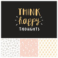 Think happy thoughts seamless patterns collection Royalty Free Stock Photo