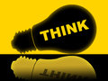Think lightbulb means contemplate about and reflect showing reflection contemplating considering Royalty Free Stock Images