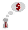 Think about money play figure with tie and dollar symbol in bubble d illustration Royalty Free Stock Photography
