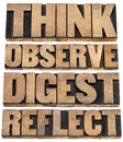 Think observe digest reflect a set of motivational words isolated text in letterpress wood type Stock Photo