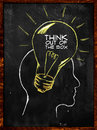 Think out of the box sketch on blackboard Royalty Free Stock Photography