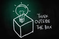 Think outside the box concept drawn with chalk on blackboard Stock Photo