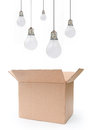 Think outside the box light bulbs over an open Royalty Free Stock Photography