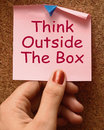 Think outside the box means different unconventional thinking Royalty Free Stock Image