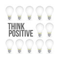 think positive idea light bulb pattern concept