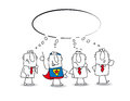 Think tank with a superhero this teamwork thinks about lot of ideas super businessman Royalty Free Stock Photo