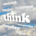 Think words in sky imagine new ideas and dreams brainstorm envision dream visualize conceptualize representing the generation of Royalty Free Stock Image