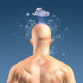 Thinker man radiates thought with cloud Stock Image