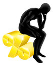 Thinker percentage rate concept man sitting on a gold sign Royalty Free Stock Photography