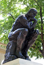 The thinker by rodin at philadelphia museum of arts museum sculpture is display in front of building Stock Photography