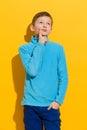 Thinking boy Royalty Free Stock Photo